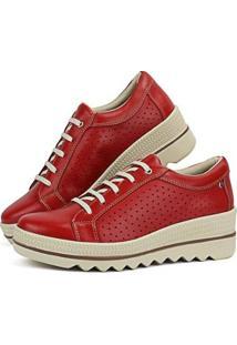 Tênis Flat Couro Sapatofran Plataforma Confortável Feminino - Feminino-Vermelho