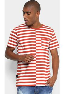 Camiseta Listrada Manga Curta Forum Masculina - Masculino-Branco+Vermelho