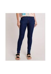 Calça Jeans Feminina Skinny Energy Jeans Cintura Alta Azul Escuro