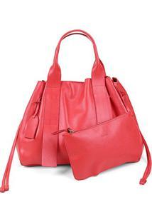 Bolsa Couro Shoestock Tote Desestruturada Feminina - Feminino-Vermelho