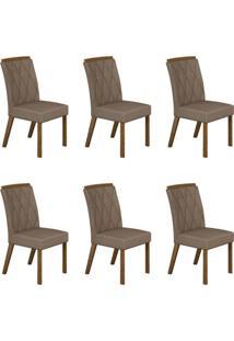 Conjunto Com 6 Cadeiras Esmeralda Ipê E Veludo Camurça