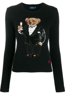 Polo Ralph Lauren Sequin-Embellished Polo Bear Jumper - Preto