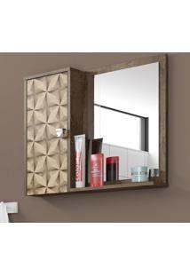 Armário Para Banheiro 1 Porta Gênova Madeira Rústica/Madeira 3D - Bechara Móveis