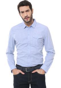 Camisa Forum Reta Bolso Azul