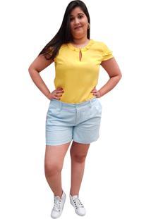 Blusa Crepe Linda D+ Manga Frufru Amarela (4043) - Kanui