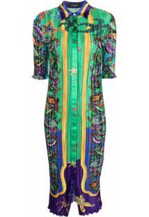 Versace Starfish-Print Shirt Dress - Verde