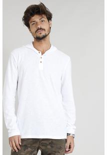 Camiseta Masculina Flamê Com Botões E Capuz Manga Longa Branca
