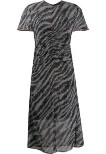 Rag & Bone Vestido Longo Com Estampa De Zebra - Preto