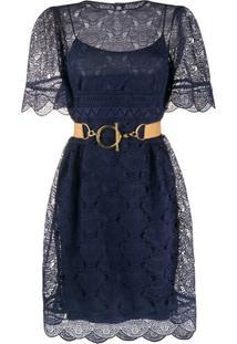 Alberta Ferretti Vestido Com Sobreposição De Renda - Azul