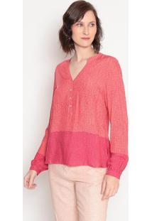 Blusa Com Bolso & Botõesvermelha & Coralhering