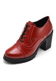 Ankle Boot Feminino Vermelho Tratorado Em Verniz 19000