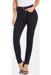 Calca Chapa Barriga 30% Elasticidade Jeans Escuro