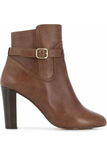 Tila March Ankle Boot Com Fivela Lateral - Marrom