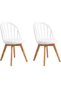 Conjunto Com 2 Cadeiras Laris Tulipa Base Madeira Branco