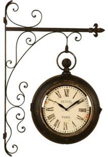 Relógio De Parede Decorativo Estação Paris De Metal Envelhecido - Unissex