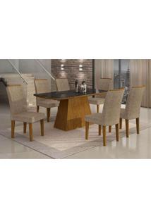 Conjunto De Mesa Lunara Ii Com Vidro 6 Cadeiras Suede Amassado Imbuia E Chocolate
