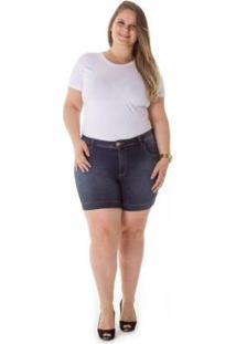 Shorts Jeans Plus Size Cintura Alta Tradicional Feminino - Feminino