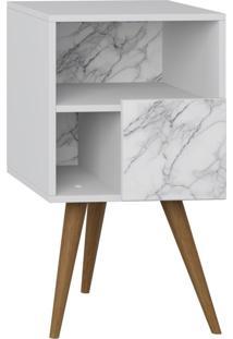 Criado Mudo Com Porta Lyam Decor Retrô Branco Carrara