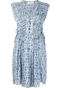 Isabel Marant Étoile Vestido Segun Com Estampa De Chiffon - Azul