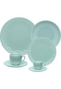 Aparelho De Jantar 42 Peças Oxford Mia Orvalho Porcelana Azul