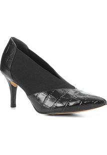 Scarpin Couro Shoestock High Vamp Croco Elástico - Feminino-Preto