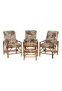 Conjunto Mesa E 3 Cadeiras De Bambu Cancun Para Área Edicula Jardim G13