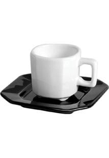 Xícara De Chá Com Pires Objeto Branco E Preto 6 Peças Scalla