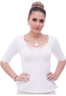 Blusa Ficalinda Meia Manga Branca Decote Redondo Evasê Com Renda Guipir Branca