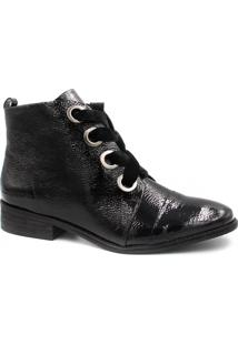 Bota Cano Curto Zariff Shoes Ankle Boot Verniz Preto