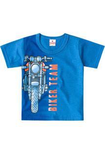 "Camiseta ""Biker Team""- Azul & Laranja- Primeiros Pasbrandili"