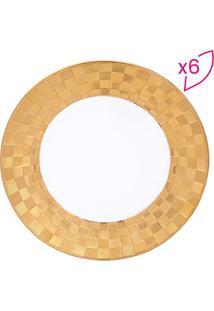 Jogo De Pratos Vera Gold- Branco & Dourado- 6Pçsrojemac