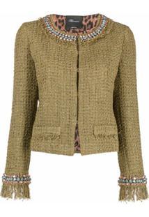 Blumarine Jaqueta De Tweed Com Aplicações De Strass - Verde