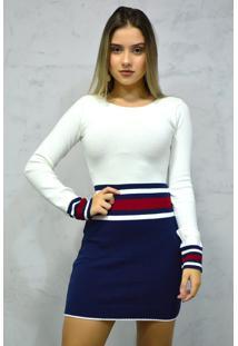 Vestido Curto Tricot Manga Longa Tricolor