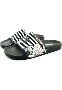 Chinelo Slide Quality Shoes Feminino Listas Preto E Branca Sola Preta 37 37
