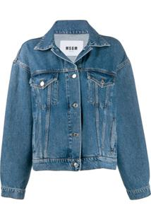 Msgm Kitten Print Denim Jacket - Azul