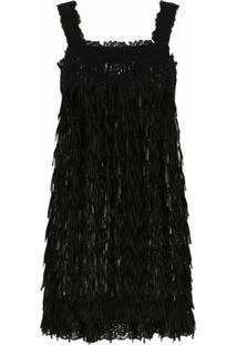 Dolce & Gabbana Vestido Translúcido Sem Mangas Com Franjas - Preto