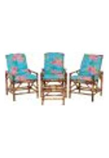 Conjunto Mesa E 3 Cadeiras De Bambu Cancun Para Área Edicula Jardim G11