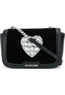Love Moschino Bolsa Transversal Com Aplicação De Coração - Preto