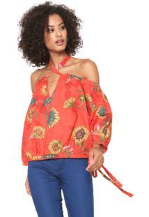 Blusa Ciganinha Sommer Floral Vermelha