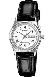 Relógio Analógico Casio Ltp-V006L-7Budf Feminino - Feminino-Prata+Preto