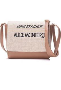 Bolsa Alice Monteiro Com Tampa Frase - Feminino-Nude