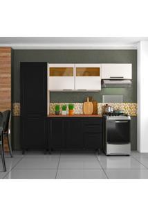 Cozinha Compacta Black&White Ii 8 Pt 2 Gv Preta E Branca