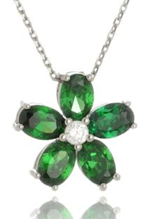 Colar Le Diamond Flor Verde Esmeralda Prata - Tricae