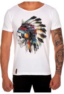 Camiseta Lucas Lunny T Shirt Gola Canoa Estampada Caveira Cocar Branco