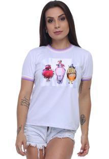 T-Shirt Tee Fashion Patche Perfume Branco