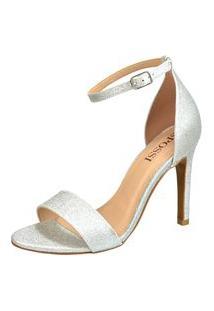 Sandália Salto Fino Spossi Glitter Glamour Prata