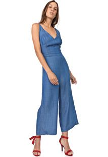 Macacão Jeans Carmim Pantacourt Liso Azul