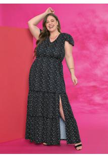 Vestido Longo Poá Preto Com Babadinhos Plus Size