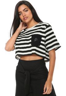 Camiseta Cropped Redley Listrada Off-White/Preta