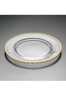 Sousplat Pearl Gold- Cristal & Dourado- 3Xø32Cm-Rojemac
